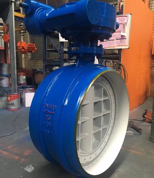Butterfly Valve Butt Welded End PN 25 DN 800 A 216 WCB BODY AND DISC  WORM GEAR