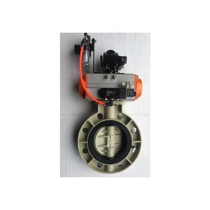 PPH Butterfly Valve with Double Acting Air Filter Solenoid Valve