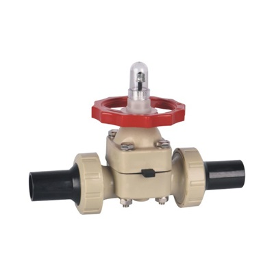 PPH Diaphragm Valve Double Union With PE Pipe Butt Weld