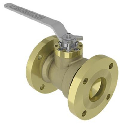 2 Piece Bronze Floating Ball Valve, Integral Cast Flanges